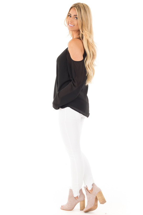 Black Wrap Style Open Shoulder V Neck Blouse side full body