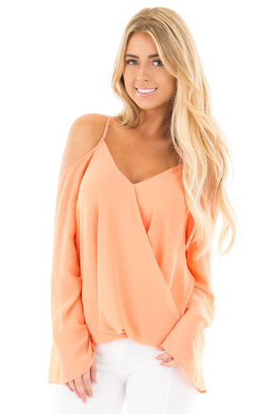 Grapefruit Wrap Style Open Shoulder V Neck Blouse front close up