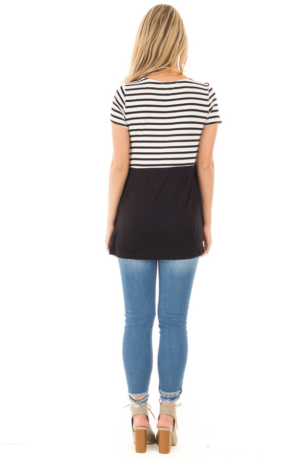 Black and Ivory Striped Top with Black Block Detail back full body