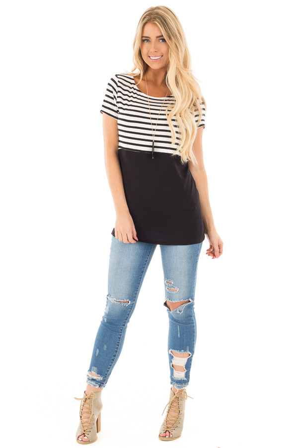 Black and Ivory Striped Top with Black Block Detail front full body