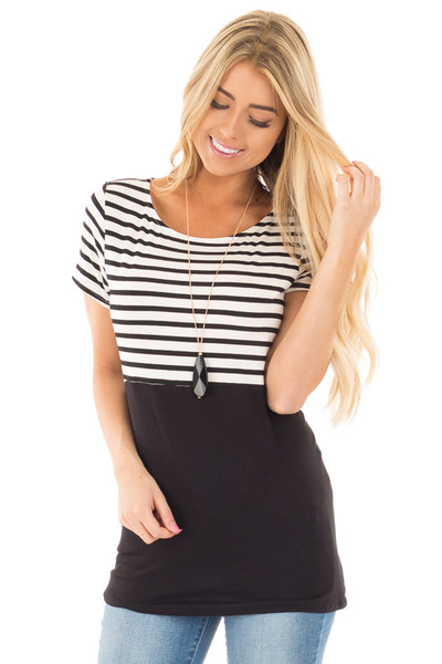 Black and Ivory Striped Top with Black Block Detail front close up