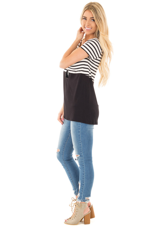 Black and Ivory Striped Top with Black Block Detail side full body