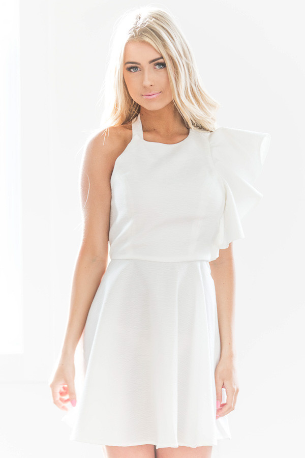 White One Shoulder Ruffle Dress front close up