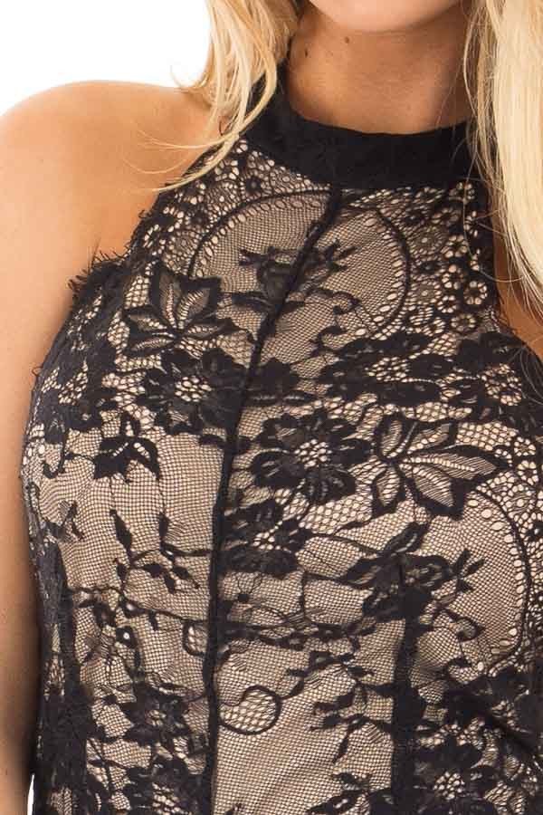 Black and Nude Lace Open Back Bodysuit detail