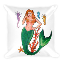 Mermaid Series: Redhead Mermaid - Square Pillow