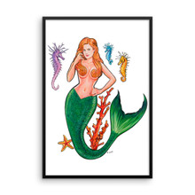 Mermaid Series: Redhead Mermaid - Framed Poster