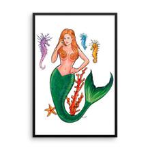 Mermaid Series: Redhead Mermaid - Framed Poster