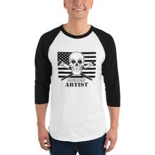 American Artist with Flag - 3/4 sleeve raglan shirt