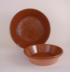 #55 a Small Redware Steep Pan