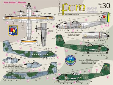 FCM DHC-5 Buffalo: Brasil (2), Ecuador and Canada Decals 1:144