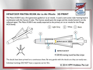 High Planes Matra R.530K Missile Accessories 1:72