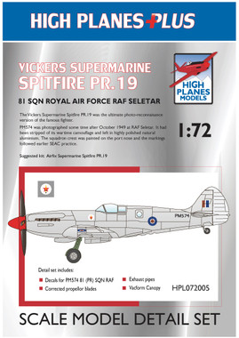 High Planes Plus VS Spitfire PR.19 Detail Set 1:72