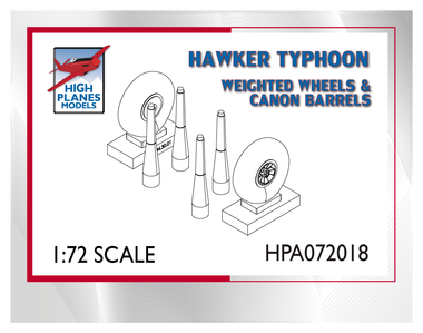 High Planes Hawker Typhoon / Tempest weighted wheels & canon. Resin Accessories 1:72