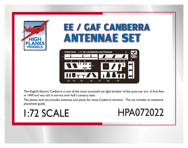 High Planes Antennae and Probes for EE Canberra Accessories 1:72 (HPA072022)