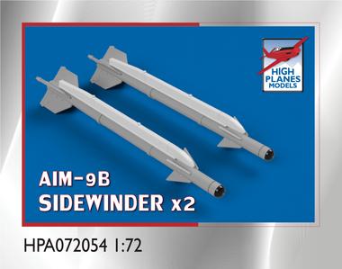 High Planes AIM-9B Sidewinder Air to Air Missile and AERO-3B rail x 2 Accessories 1:72 (HPA072054)