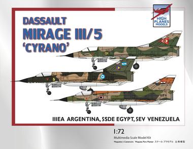 """High Planes Dassault Mirage IIIE/5 """"Cyrano"""" Egypt, Venezuela, Argentina Kit 1:72 (HPK072104)"""