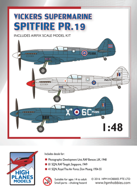 High Planes Vickers Supermarine Spitfire PR.XIX bundle Airfix A05119 Kit 1:48 HPK048013