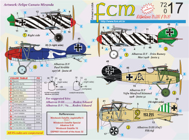 FCM WWI Albatros D.III D.V Part 2 Decals 1:72 (FCD072017)