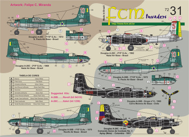 FCM Latin A-26 Invaders Decals 1:72 (FCD072031)