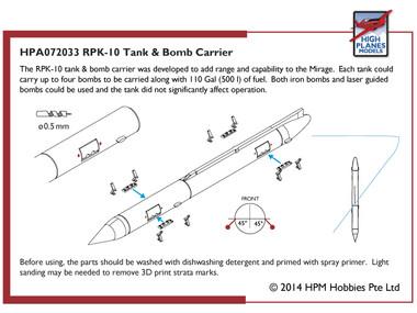 High Planes Dassault Mirage RPK-10 Tank & Bomb Carrier Accessories 1:72