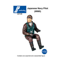 PJ Productions Imperial Japanese Navy Pilot seated in aircraft WWII Figure 1:32