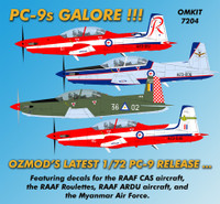OzMods Scale Models 1/72 Pilatus PC-9 RAAF CAS, ARDU, Roulettes, Myanmar Air Force Kit 1:72 (OZK07204)