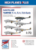 High Planes Plus DeHavilland Vampire T.11, T.31, T.55 early Detail Set Accessories 1:72 (HPL072013)