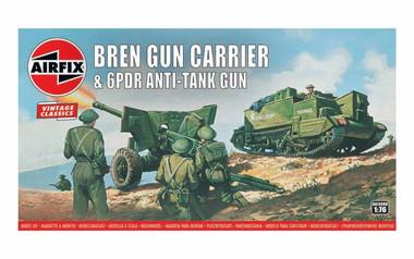 Airfix A01309V Airfix Vintage Classics - Bren Gun Carrier & 6pdr Anti-Tank Gun 1:76 Scale Model Kit