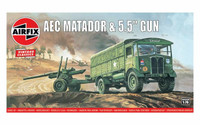 "Airfix A01314V Airfix Vintage Classics - AEC Matador and 5.5"" Gun 1:76 Scale Model Kit"