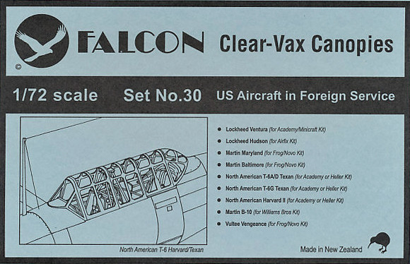 Falcon Clearvax Canopy Set No 30: US Aircraft in Foreign Service  Accessories 1:72