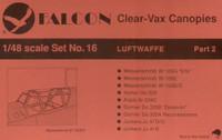 Falcon Clearvax Canopy Set No.16: Luftwaffe World War II Part 2 Accessories 1:48