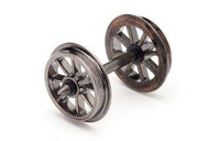 Hornby R8098 12.6mm Diameter Metal 8 Spoked Wheel/Axle Set Qty 10 Model Railway Spares