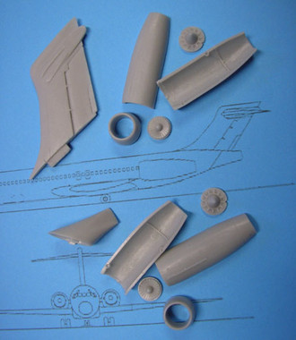 OzMods Scale Models Boeing 717 Fin, Engines, Tail Cone adapts DC-9s Accessories 1:144