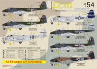 FCM Gloster Meteor Mk.8 (RAF / IAF) Decals 1:48 Scale (FCD048054)