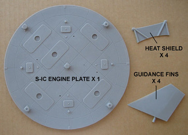 OzMods-Scaledown Saturn V Detail Set B S-IC engine plate & heat shields, 4 x S-IC fins Accessories 1:48