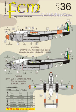 FCM Brazilian Air Force C-119 Boxcar Decals 1:72 (FCD072036