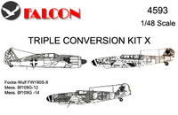 Falcon Triple Conversion X: Focke-Wulf Fw190S-8, Messerschmtt Bf109G-12, Messerschmtt Bf109G-14 Kit 1:48 (FIK04593)