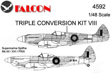 Falcon Triple Conversion VIII: Vickers Supermarine Spitfires-Mk. XII/XVI/PRXI Kit 1:48 (FIK04592)