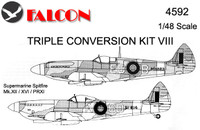 Falcon Triple Conversion VIII: Vickers Supermarine Spitfires-Mk. XII/XVI/PRXI Kit 1:48 (FIK04592)