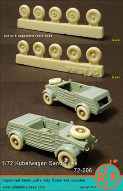 Orange 3D Kubelwagen Sand Tires balloon type Set Accessories 1:72