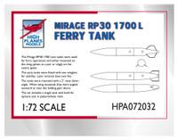 High Planes Dassault Mirage III 374 gallon 1700 litre fuel tank Accessories 1:72
