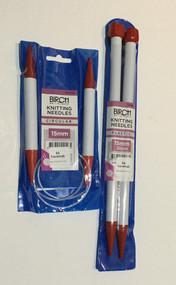 Birch 15mm Knitting Needles - Straight