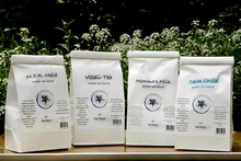 M.E.R.-maid tea shown here with other Sweet Herb Medicinals teas. Other varieties not included.
