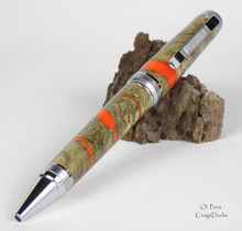 Oi Pens Buckeye Burl Wood Stabilized Ballpoint Orange Pearl Chrome Cigar