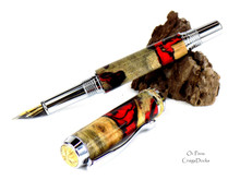 Oi Pens Buckeye Burl Wood Stabilized Fountain Chrome 22kt Triton Med Nib Black Red Hybrid Deadpool