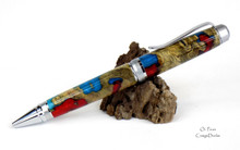 Oi Pens Buckeye Burl Wood Wood Stabilized Ballpoint Turquoise Red Pearl Chrome Cigar Hybrid