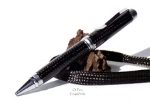 Handmade Carbon Fiber Weave Pen Ballpoint Satin / Chrome Cigar Pen