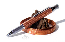 Handmade Real Copper Weave Braid Knurl Twist Pen Ballpoint Chrome