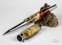 Oi Pens Buckeye Burl Wood Stabilized Rollerball Root Beer Chrome Jr Gent