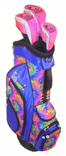 blue tie dye golf bag with head covers